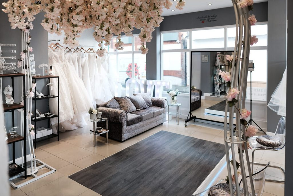 photograph showing the interior of This Is Me Bridal southport bridal shop. Illustrate the purpose of our first bridal appointment tips