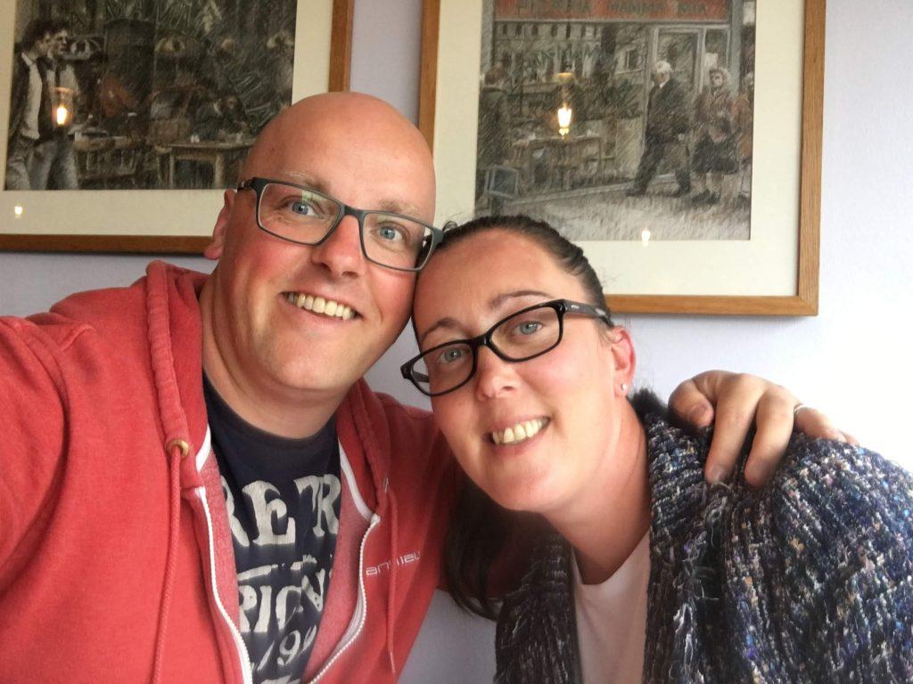 Sarah Alexander with her husband